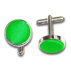 Apple Green Plain Satin Cufflinks