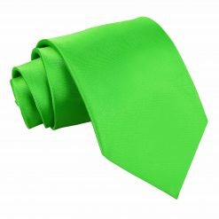 Apple Green Plain Satin Extra Long Tie