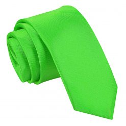 Apple Green Plain Satin Skinny Tie