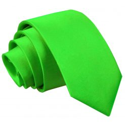 Apple Green Plain Satin Slim Tie