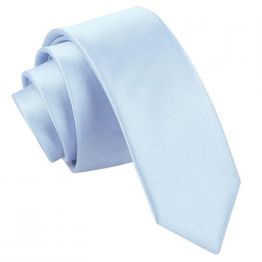 Baby Blue Plain Satin Skinny Tie