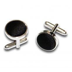 Black Plain Satin Cufflinks