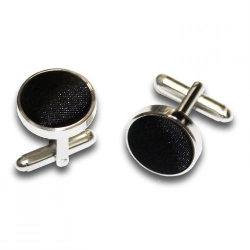 Black Plain Satin Cufflinks