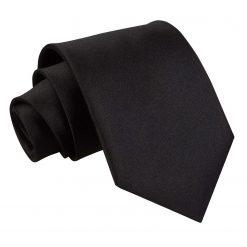 Black Plain Satin Classic Tie