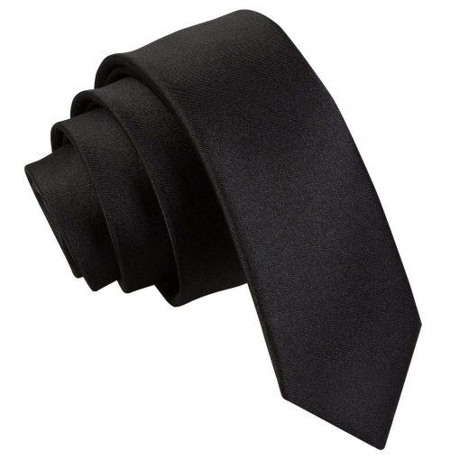 Black Plain Satin Skinny Tie