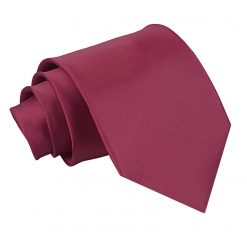 Burgundy Plain Satin Extra Long Tie