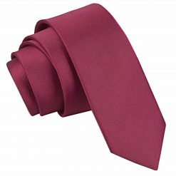 Burgundy Plain Satin Skinny Tie