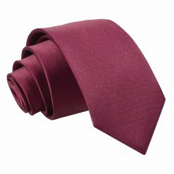 Burgundy Plain Satin Slim Tie