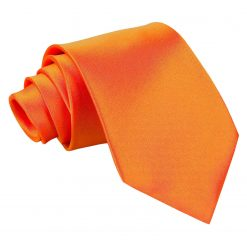 Burnt Orange Plain Satin Extra Long Tie
