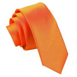 Burnt Orange Plain Satin Skinny Tie