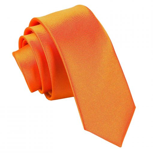 Burnt Orange Plain Satin Skinny Tie