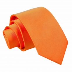 Burnt Orange Plain Satin Slim Tie