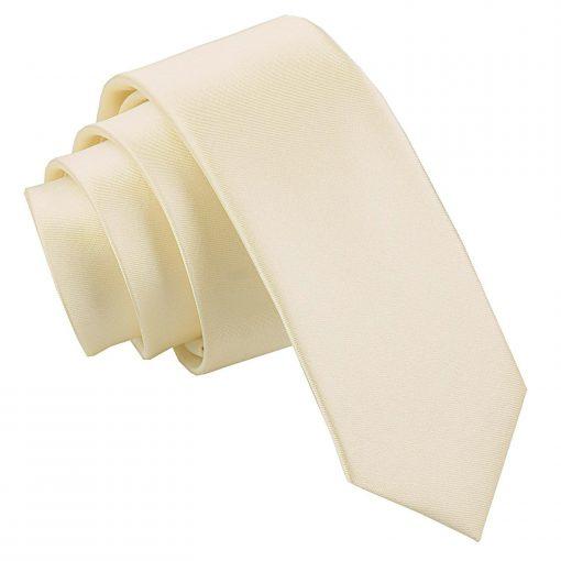 Champagne Plain Satin Skinny Tie