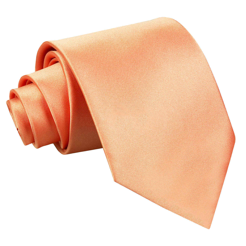 Men's Plain Coral Satin Tie