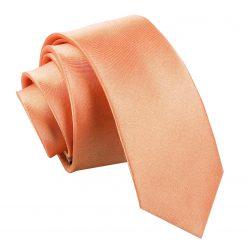 Coral Plain Satin Skinny Tie