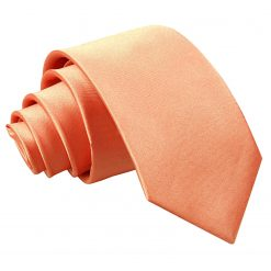 Coral Plain Satin Slim Tie