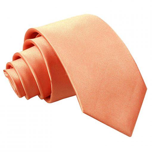 Coral Plain Satin Slim Tie