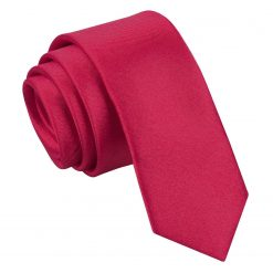 Crimson Red Plain Satin Skinny Tie