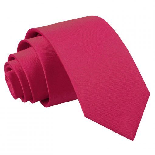 Crimson Red Plain Satin Slim Tie