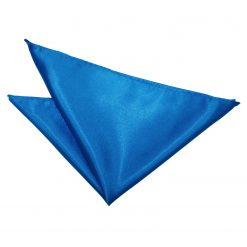 Electric Blue Plain Satin Pocket Square