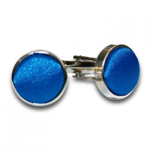 Electric Blue Plain Satin Cufflinks
