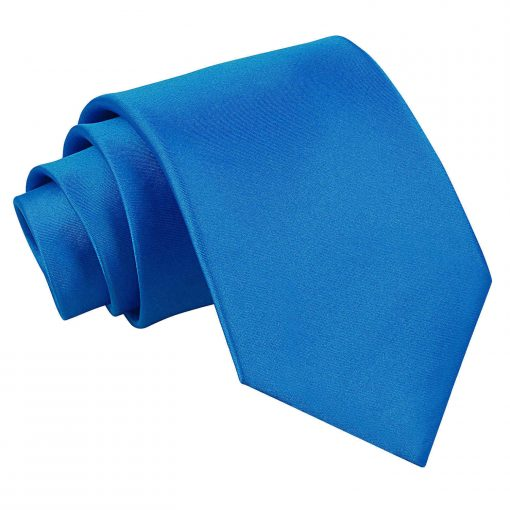 Electric Blue Plain Satin Extra Long Tie