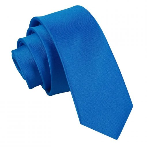 Electric Blue Plain Satin Skinny Tie