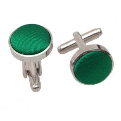 Emerald Green Plain Satin Cufflinks