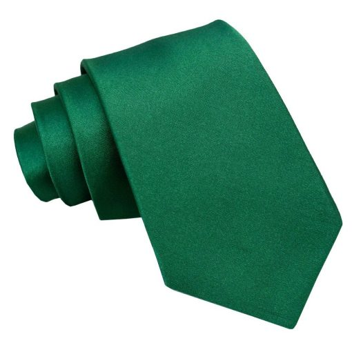Emerald Green Plain Satin Extra Long Tie