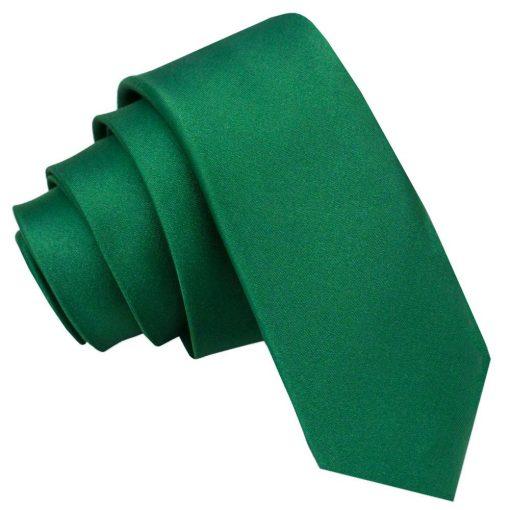 Emerald Green Plain Satin Skinny Tie