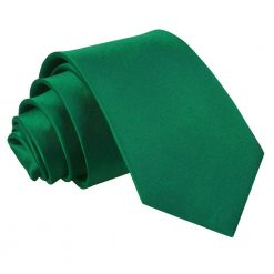 Emerald Green Plain Satin Slim Tie