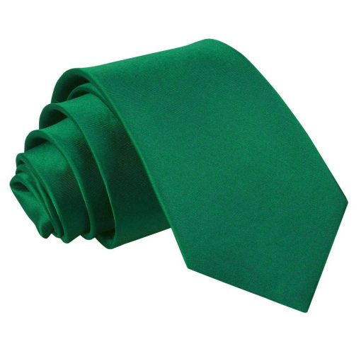 Emerald Green Plain Satin Slim Tie