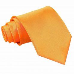 Fluorescent Orange Plain Satin Extra Long Tie