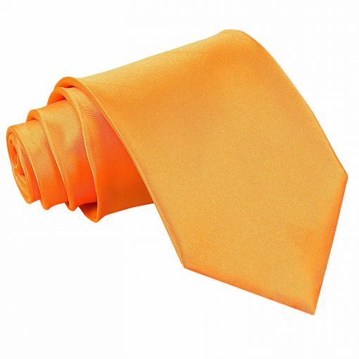 Fluorescent Orange Plain Satin Extra Long Tie