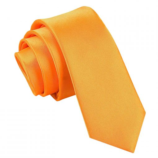 Fluorescent Orange Plain Satin Skinny Tie