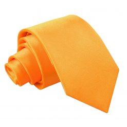 Fluorescent Orange Plain Satin Slim Tie