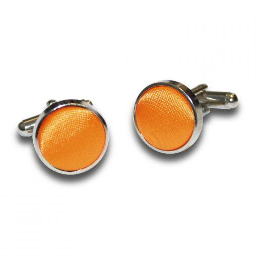 Fluorescent Orange Plain Satin Cufflinks