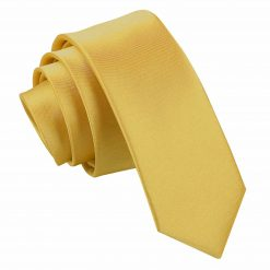 Gold Plain Satin Skinny Tie