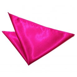 Hot Pink Plain Satin Pocket Square