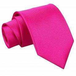 Hot Pink Plain Satin Extra Long Tie