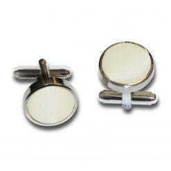 Ivory Plain Satin Cufflinks