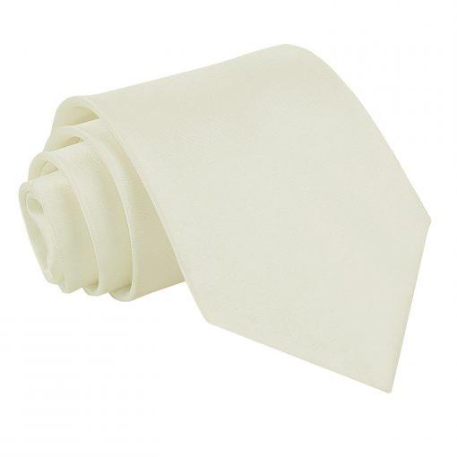 Ivory Plain Satin Extra Long Tie