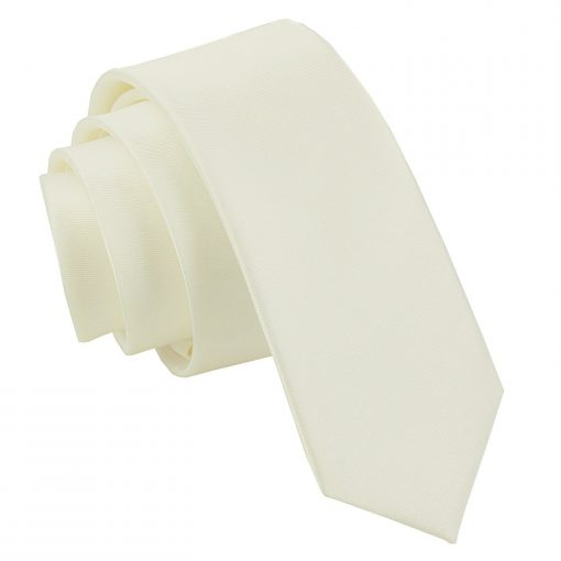 Ivory Plain Satin Skinny Tie