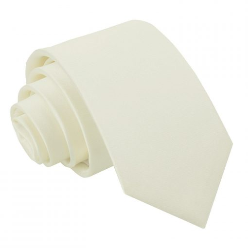 Ivory Plain Satin Slim Tie