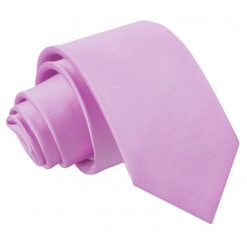 Lilac Plain Satin Slim Tie