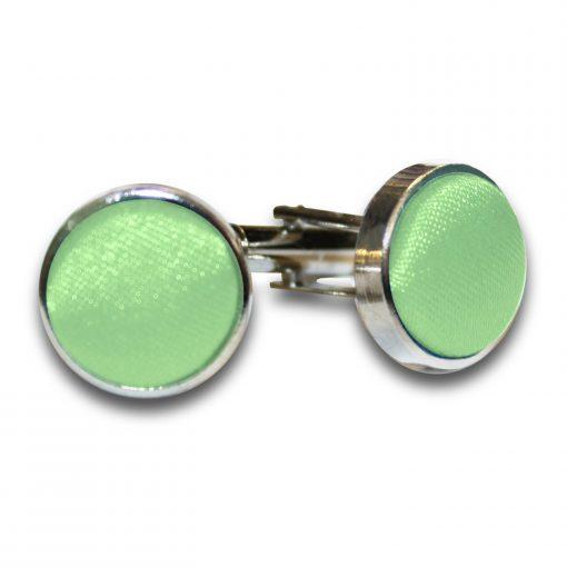 Lime Green Plain Satin Cufflinks
