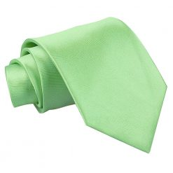 Lime Green Plain Satin Classic Tie