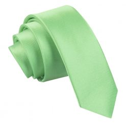 Lime Green Plain Satin Skinny Tie