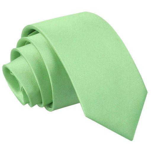 Lime Green Plain Satin Slim Tie
