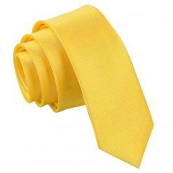 Marigold Plain Satin Skinny Tie